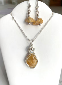 Maine Golden Beryl Necklace and Earring Set - Lively Accents