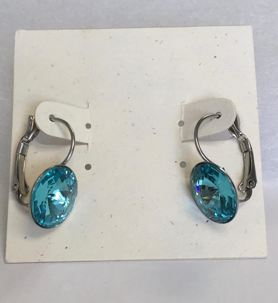 Sparkling Swarovski crystal turquoise rivoli earrings in a stainless steel leverback setting.