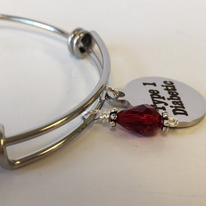 Type 1 Diabetic Medical Alert Expandable Bangle - Lively Accents