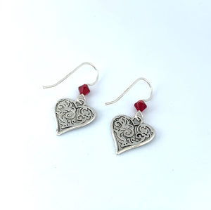 Silver Heart Earrings - Lively Accents