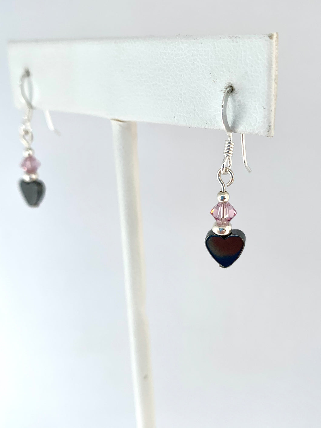 Dainty Hematite Heart Earrings - Lively Accents