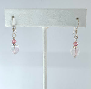 Pink and Clear Heart Earrings - Lively Accents