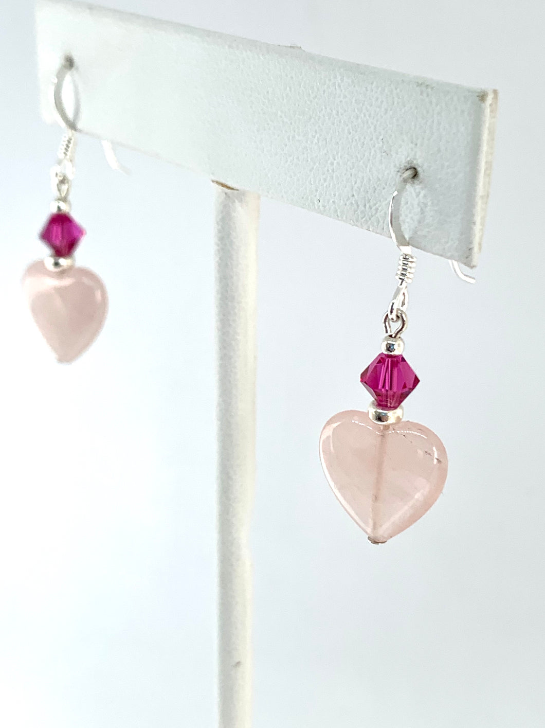 Rose Quartz and Swarovski Crystal Heart Earrings - Lively Accents