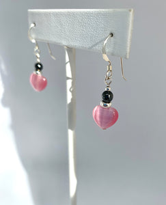Black and Pink Heart Earrings - Lively Accents