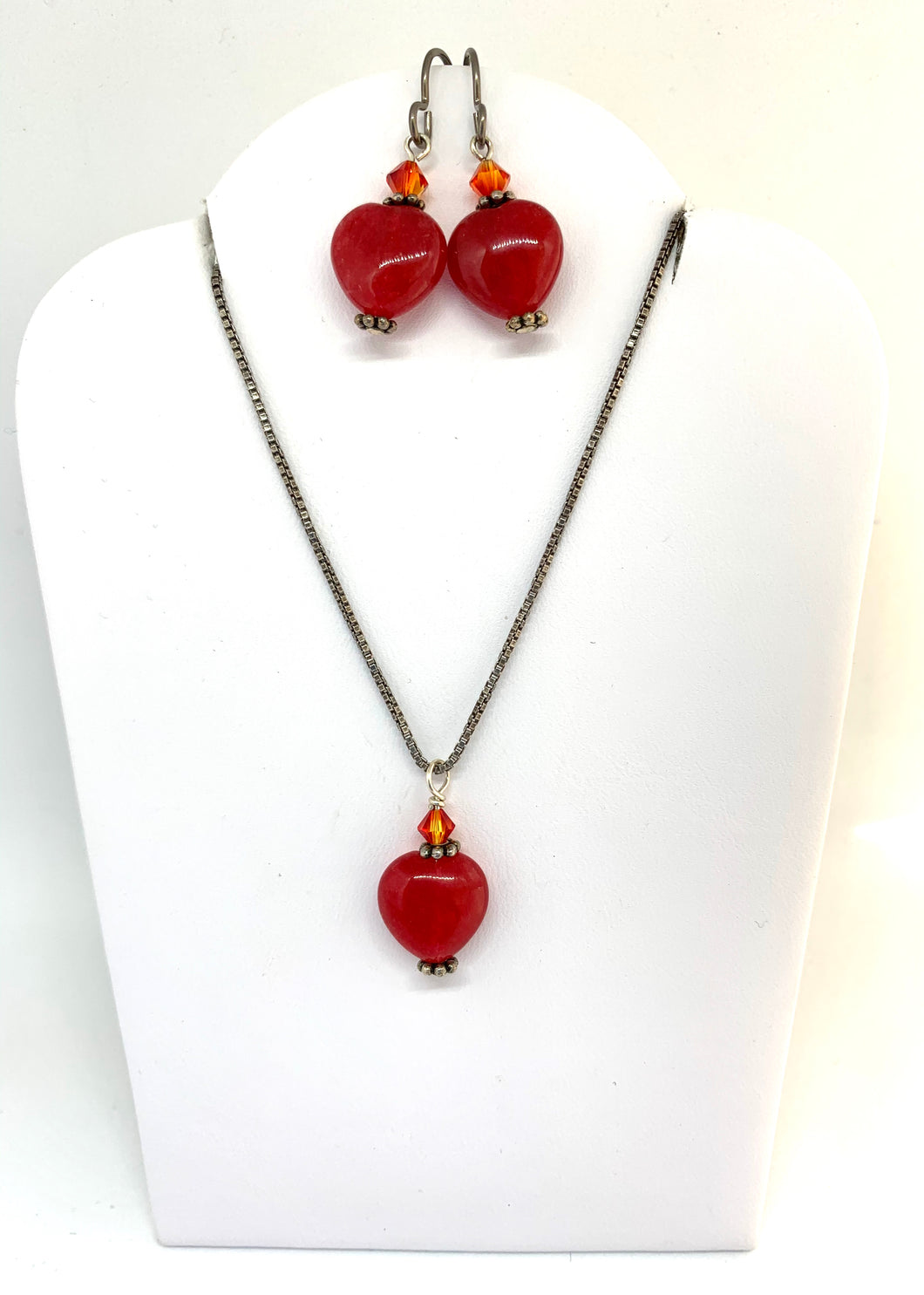 Red Jade and Swarovski Crystal Set - Lively Accents