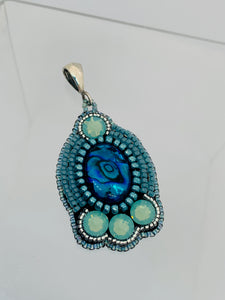 Paua Shell Bead Embroidered Necklace