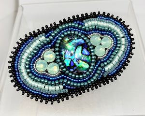 Paua Shell Bead Embroidered Barrette