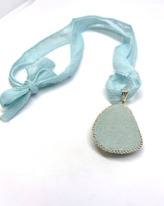 Larimar Bead Embroidered Pendant