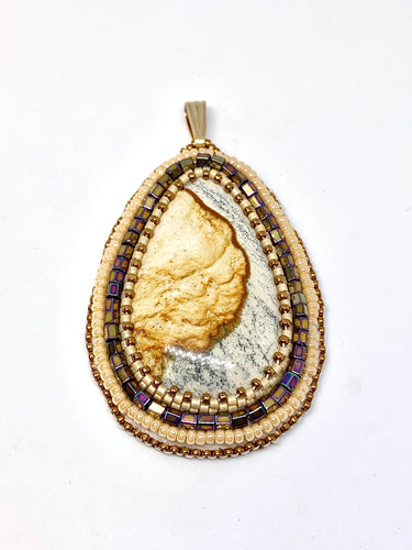 Picture Jasper Bead Embroidered Pendant
