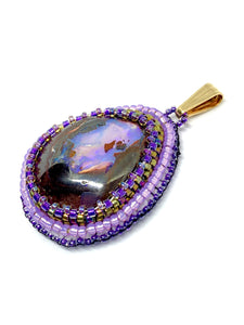 Purple Boulder Opal Bead Embroidered Pendant