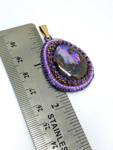 Load image into Gallery viewer, Purple Boulder Opal Bead Embroidered Pendant