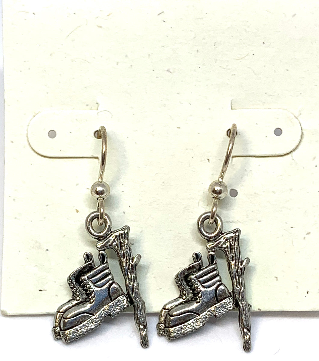 Hiking Boot with Walking Stick Earrings