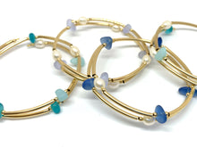 Load image into Gallery viewer, 14k Gold Filled Tube and Frosted Glass Memory Wire Bracelet