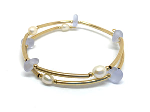 14k Gold Filled Tube and Frosted Glass Memory Wire Bracelet