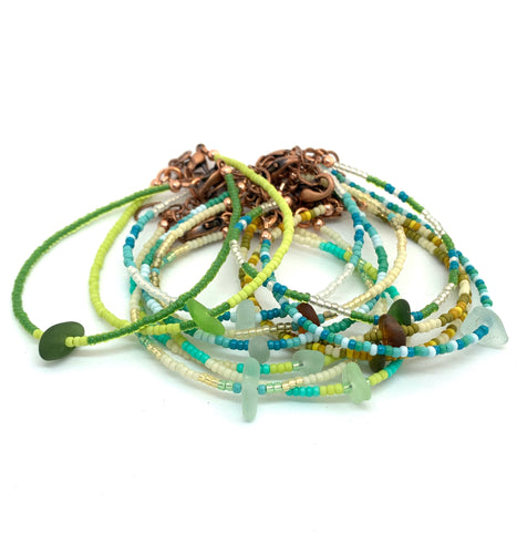 Sea Glass Beaded Bracelets