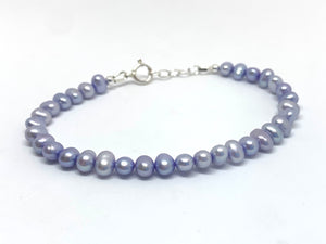 Freshwater Pearl Bracelet with Sterling Silver Adjustable Chain