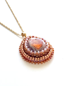 Fire Opal Bead Embroidered Pendant