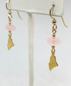 Maine Rose Quartz and Maine Charm Earrings