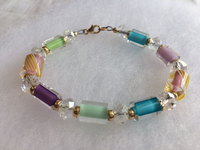 Cane Glass Art Bead Bracelet