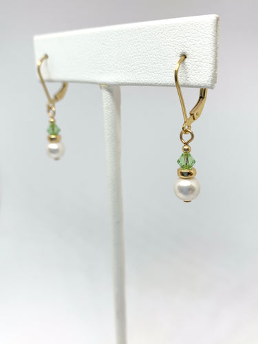 Birthstone and Pearl Leverback Earrings