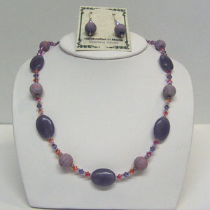 Lepidolite Vintage Lucite Swarovski Necklace and Earrings Set - Lively Accents