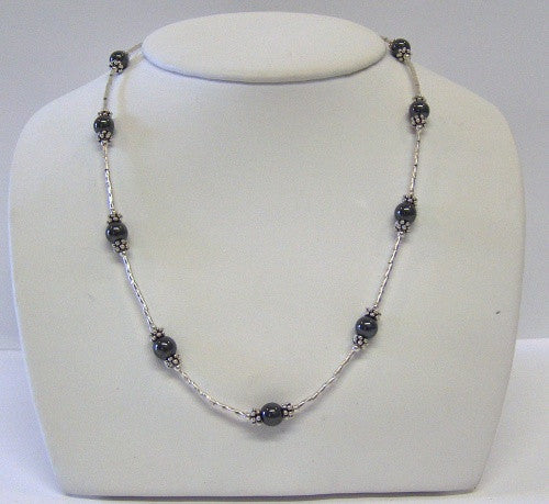 Twisted Liquid Silver and Hemitate Necklace