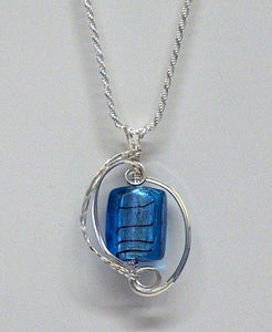Blue Glass Foil Wire Wrapped Necklace - Lively Accents