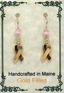 14K Gold Filled Cancer  Awareness Earrings