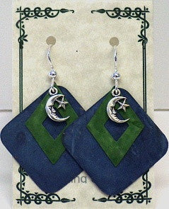 Denim Patina Layered Moon & Stars Earrings - Lively Accents