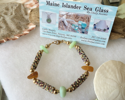 Gold Sea glass and Peyote stitch bracelet