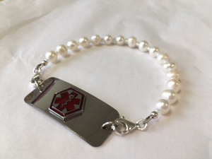 Medical Alert Pearl Interchangeable ID Replacement Bracelet