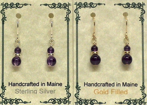 Gemstone Drop Earrings - Amethyst