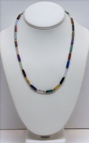 Necklace & Bracelet Multi Gemstone Tube Set