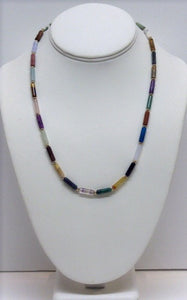 Necklace & Bracelet Multi Gemstone Tube Set - Lively Accents