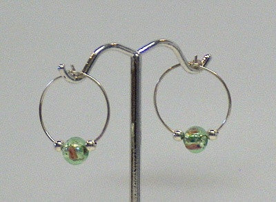 Glass Foil Hoop Earrings