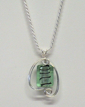 Green Glass Foil Necklace