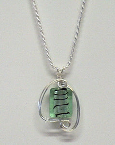 Green Glass Foil Necklace - Lively Accents