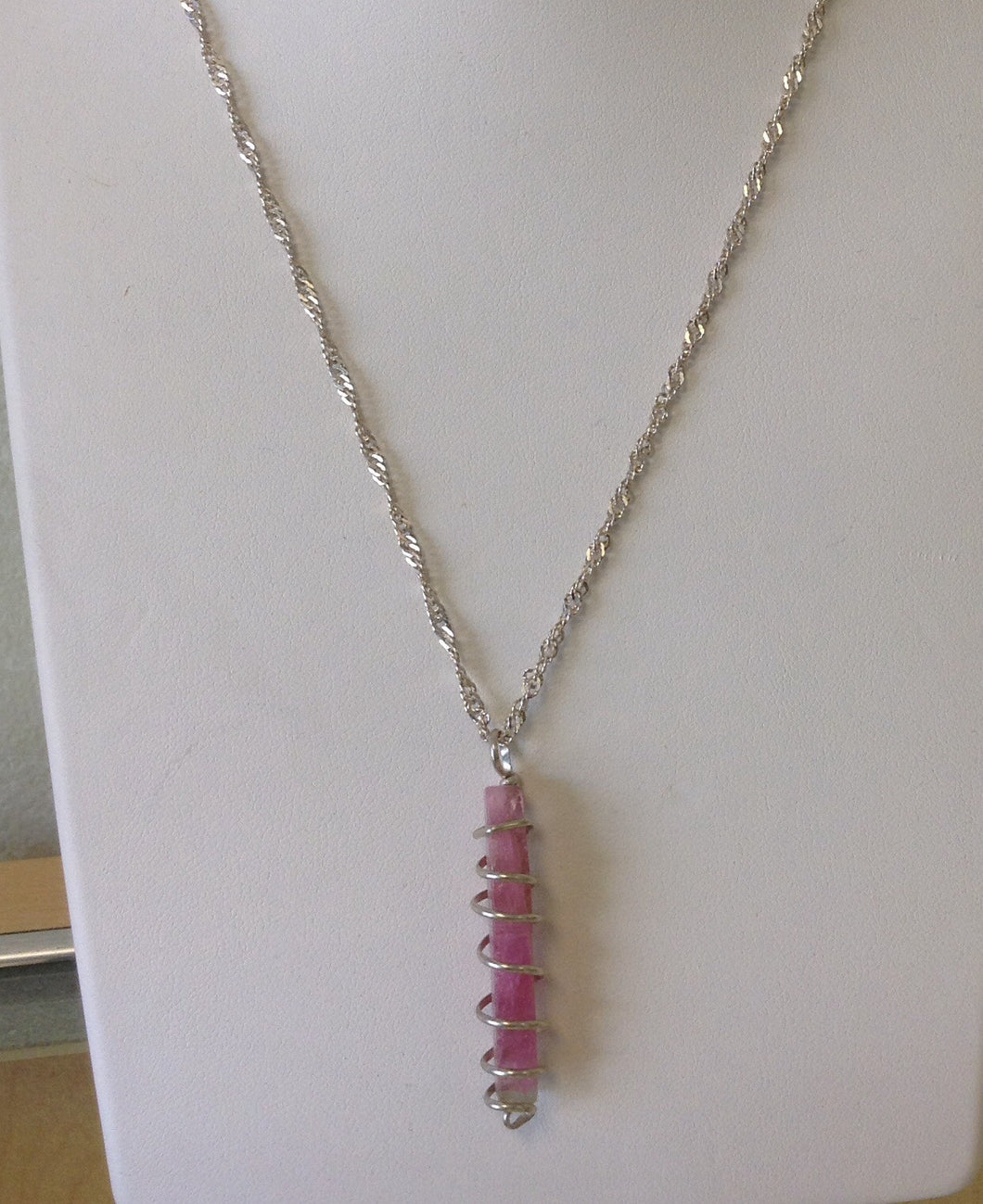 Maine Pink Tourmaline Spiral Wrapped Necklace - Lively Accents