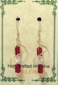 Gold Filled Wire Wrap Czech Glass Earrings - Lively Accents