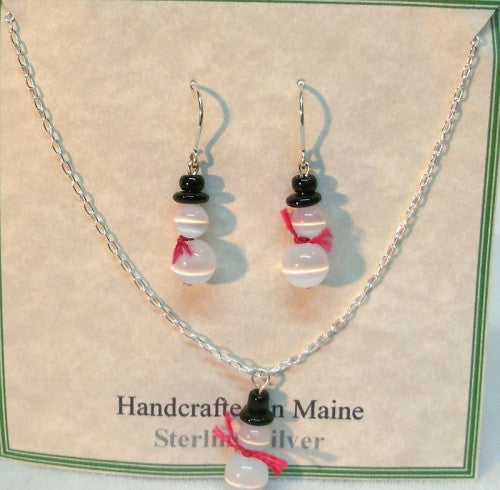 Sterling Silver Snowman Earrings and Pendant Set - Lively Accents