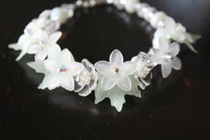 Flower Petal and Swarovski Crystal Bracelet - Lively Accents