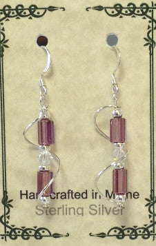 Sterling Silver Wire Wrap Czech Glass Earrings