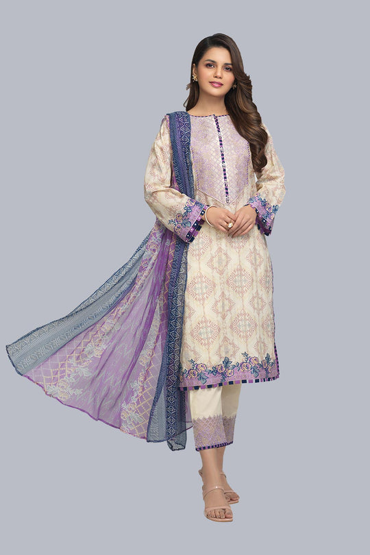 Bonanza Satrangi Asr213p58 L Purple Eid Collection