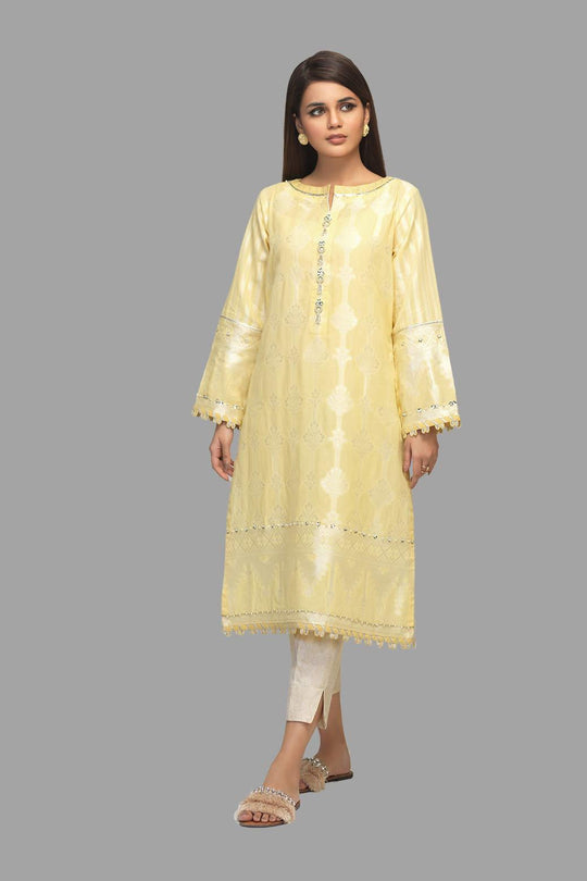 Bonanza Satrangi Yellow-jacquard-kurti Summer Volume 2