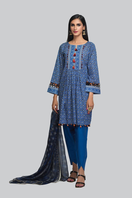 Bonanza Satrangi Ssr213p60 D Blue Eid Collection
