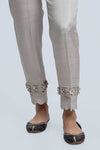 Gray-Raw Silk-Trouser