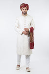 CREAM PACKAGE SHERWANI WITH D-MAROON QULLA