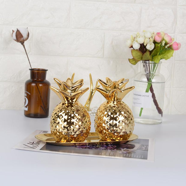 Ceramic Pineapple Coin Bank-Desk Solutions