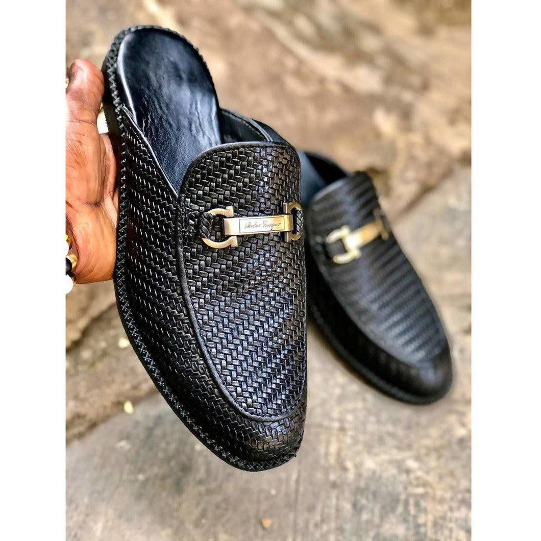 CraftsbyNai Leather Woven half shoes