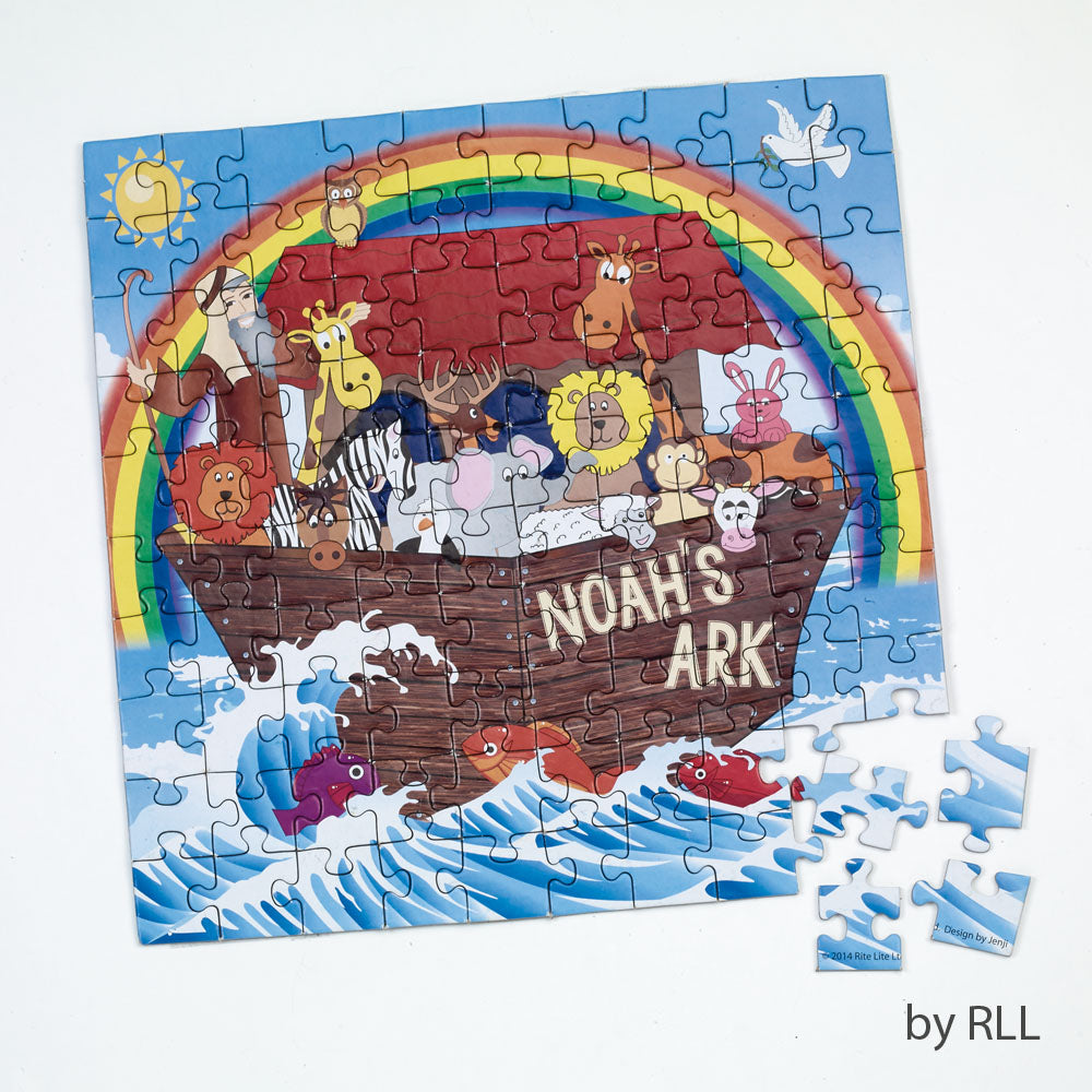 puzzle pieces put together with the last 4 missing- picture of Noah's Ark